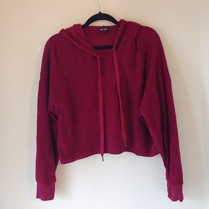 Maroon Terry Cloth Crop Hoodie